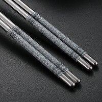 Cinco pares de palillos de acero inoxidable para Sushi, diseño antideslizante de Metal, Retro Azul, blanco, diseño de porcelana, JDZ, palitos de Sushi cómodos, 22cm