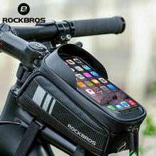 ROCKBROS torba na rower wodoodporny ekran dotykowy torba rowerowa górna przednia rurka rama do roweru górskiego droga torba na rower 6 5 etui na telefon akcesoria rowerowe tanie tanio CN (pochodzenie) NYLON Z pokrywką 017-1BK Black About 20*8 2*10 3cm About 149g 5 8 6 0 6 5 inch Rainproof Earphone hole Sun visor Reflective