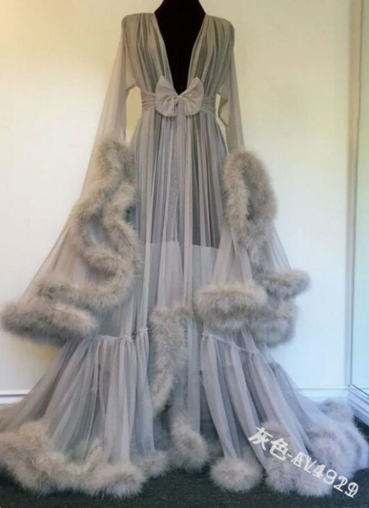 Women S Medieval Vintage Semitransparent Bridal Gowns Feather Wedding Robe Tulle Fantasy Furry Edge Fairy Outwear Costume Dress Scary Costumes Aliexpress