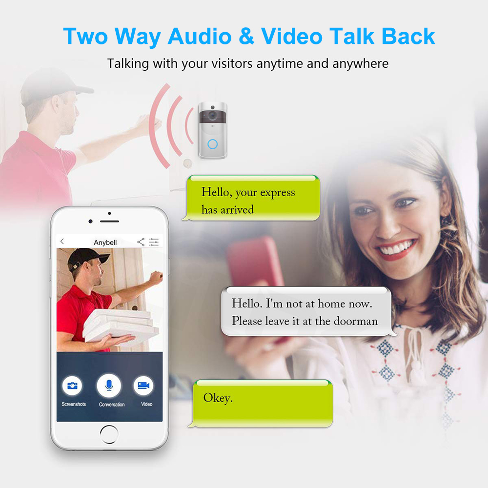 Image 3 - Smart Video Doorbell Wireless WIFI DoorBell Camera 720P Home Security IP Intercom Door Phone Battery Powered PIR Alarm Cloud-in Video Intercom from Security & Protection