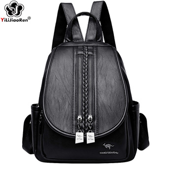 2018 design women black pu leather backpack high quality casual large capacity backpacks for school travel bag for women Fashion Double Zipper Backpack Women Shoulder Bag High Quality Leather Backpacks For Girls Large Capacity School Bags Travel Bag
