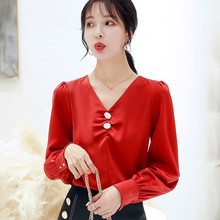 Korean Silk Blouses Women Satin V Neck Blouse Shirt Woman Long Sleeve Blouse Top Plus Size Blusas Mujer De Moda 2020 Women Tops