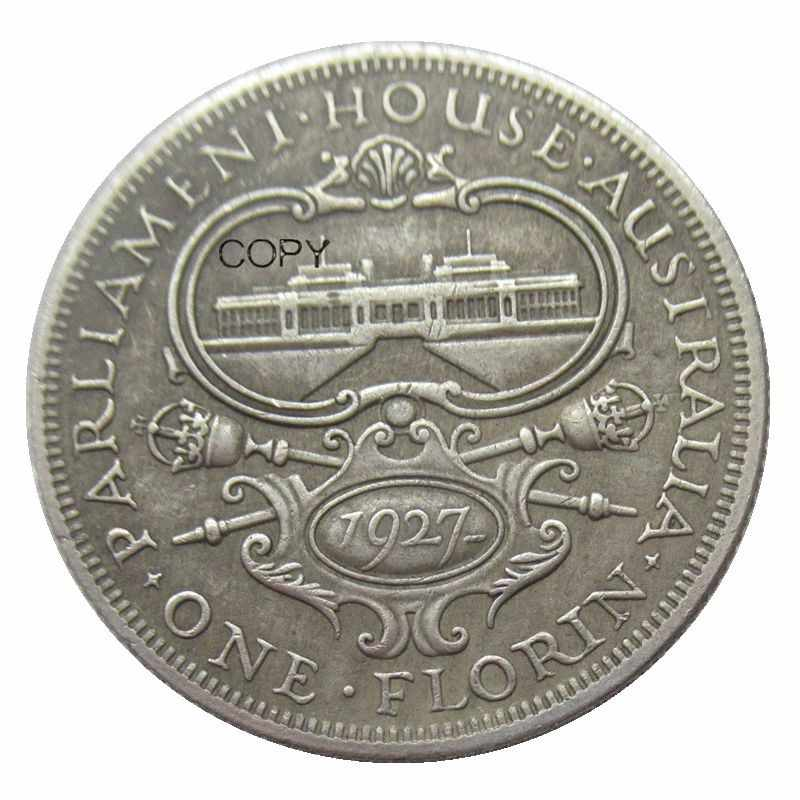 In Australia 1 Florin 1927 Argento Placcato Copia Moneta