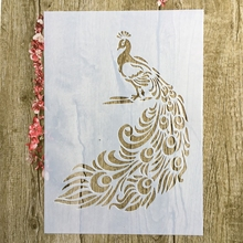 A4 29 * 21cm Animal peacockl DIY Stencils Wall Painting Scrapbook Coloring Embossing Album Decorative Paper Card Template