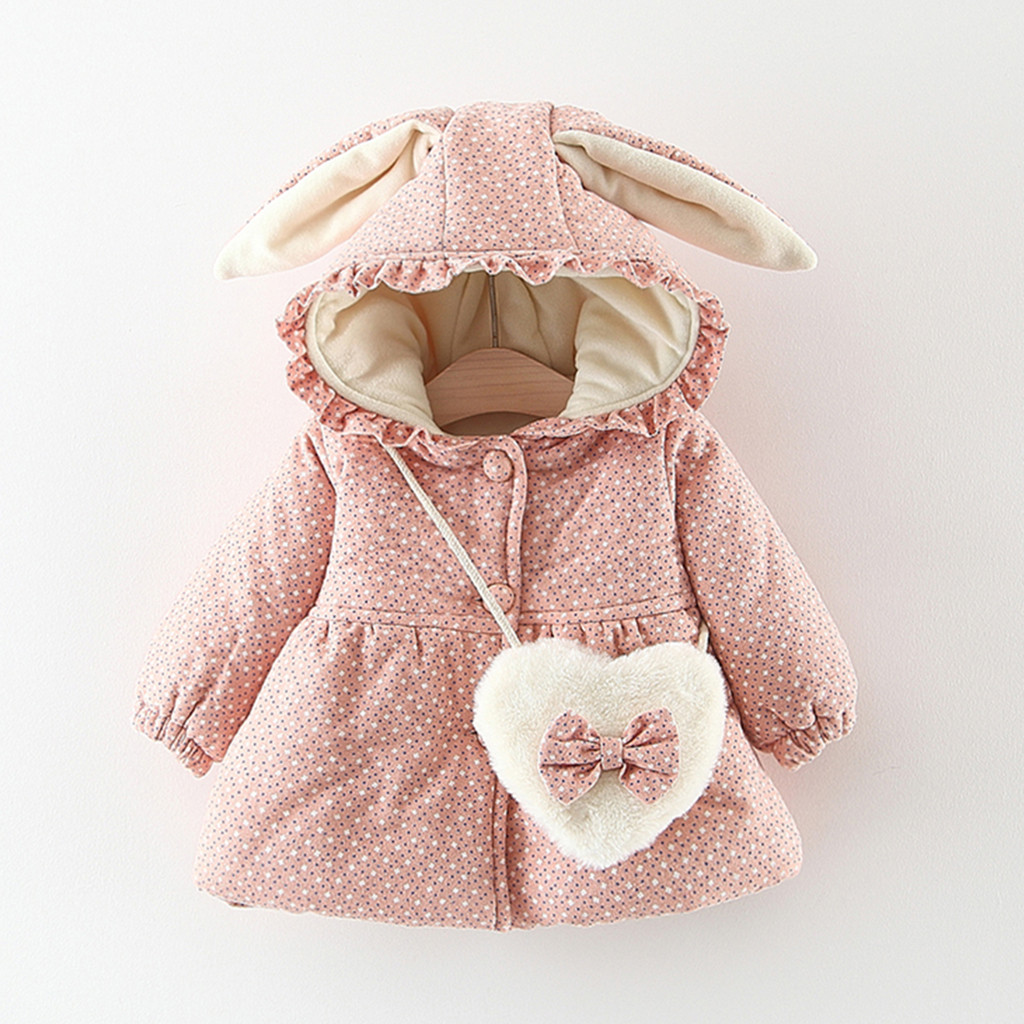 Outwear Coat Infant Jackets Rabbit-Ear Baby-Girl Winter Cute Thick Toddler Ruched  title=