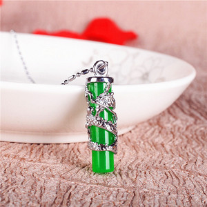Natural Green Jade Dragon Pillar Pendant 925 Silver Necklace Carved Charm Jewelry Fashion Accessories Amulet for Men Women Gifts