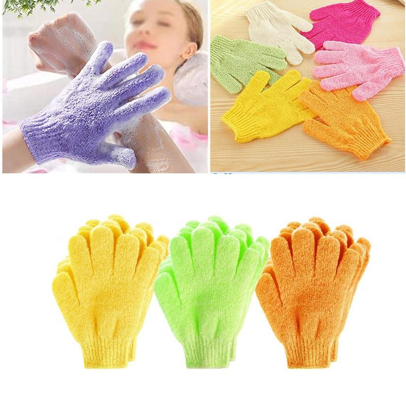 2Pcs/Set Bath Glove Exfoliating Wash Skin Bath Gloves Foam Bath Body Massage Cleaning Scrubber Skid Resistance Shower Bath Tools