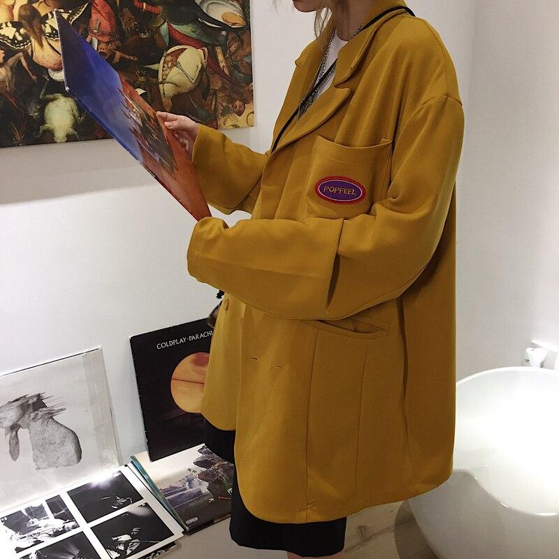 Retro Casual Loose Ladies Blazer Solid Yellow Simple Suit Jacket Stylish Veste Blazer Korean High Street Women Jacket MM60NXZ