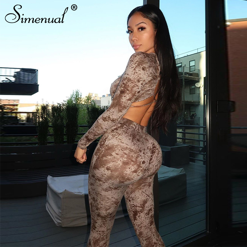 Simenual Tie Dye Backless Criss Cross Matchign Sets Women Fitness Casual Bodycon Two Piece Outfits Club Crop Top And Pants Set