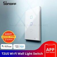 SONOFF T2US TX Smart Wifi Touch Muur Lichtschakelaar Met Grens Smart Home 1/2/3 Gang 433 RF/Voice/APP Controle Werkt Met Alexa