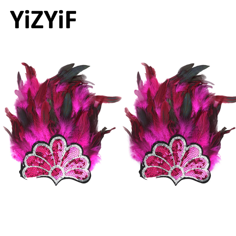 Gothic Punk Epaulet Feather Arm Shoulder Harness Straps Handmade Feather Shiny Sequins Flower Epaulet Shrug Cape Shoulder Strap
