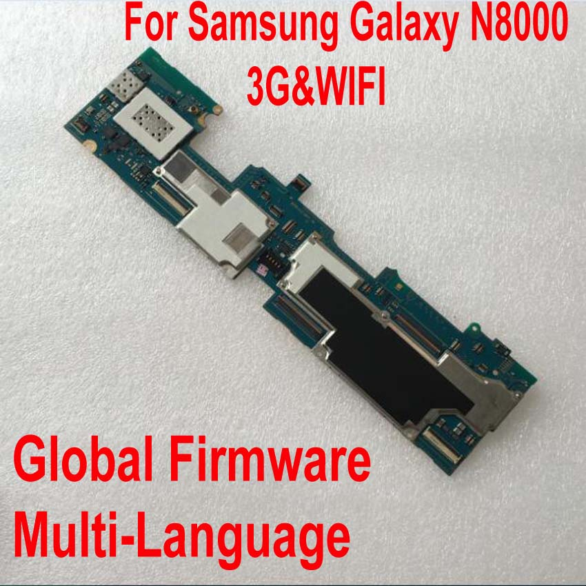 Global Firmware Original Motherboard For Samsung Galaxy Note 10.1 N8000 16GB Mainboard WiFi & 3G Circuits Card Fee Flex Cable