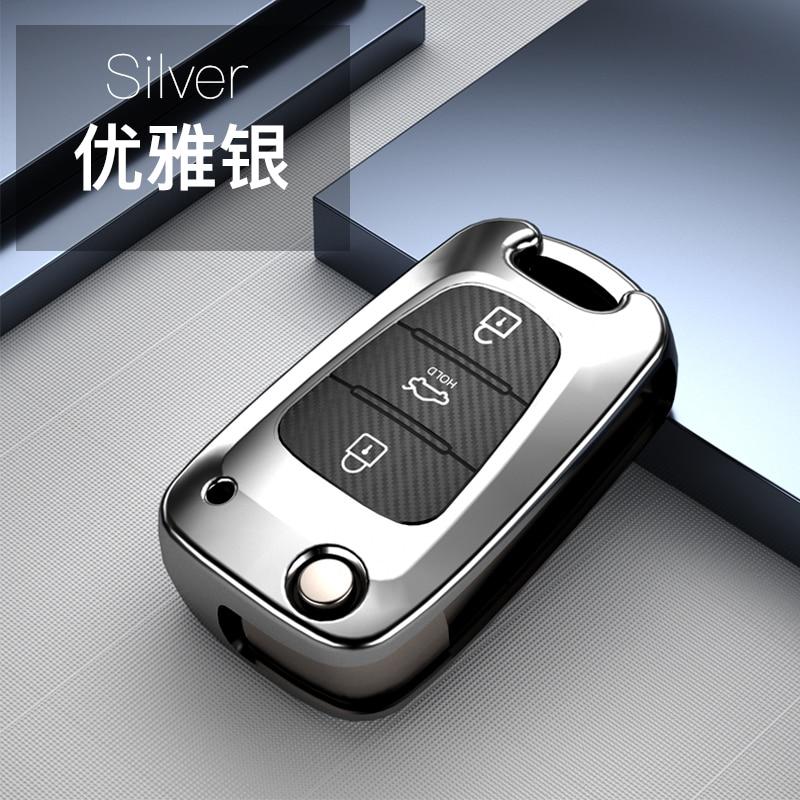Carbon Fiber TPU 3 Button Key Cover Case Remote Folding Shell Accessories For Kia Ceed Picanto Sportage For Hyundai I20 I30 Ix35
