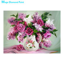Pink Flower vase Diamond Painting floral Rose Round Full Drill  5D Nouveaute DIY Mosaic Embroidery Cross Stitch home decor gifts