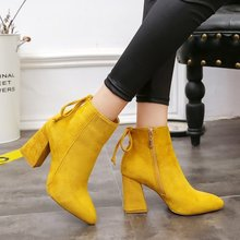 Women Shoes Ankle Pumps Flock Toe Boots Solid Autumn Spring 2019 Autumn New High-heeled Shoes Botas Mujer Dropship недорого