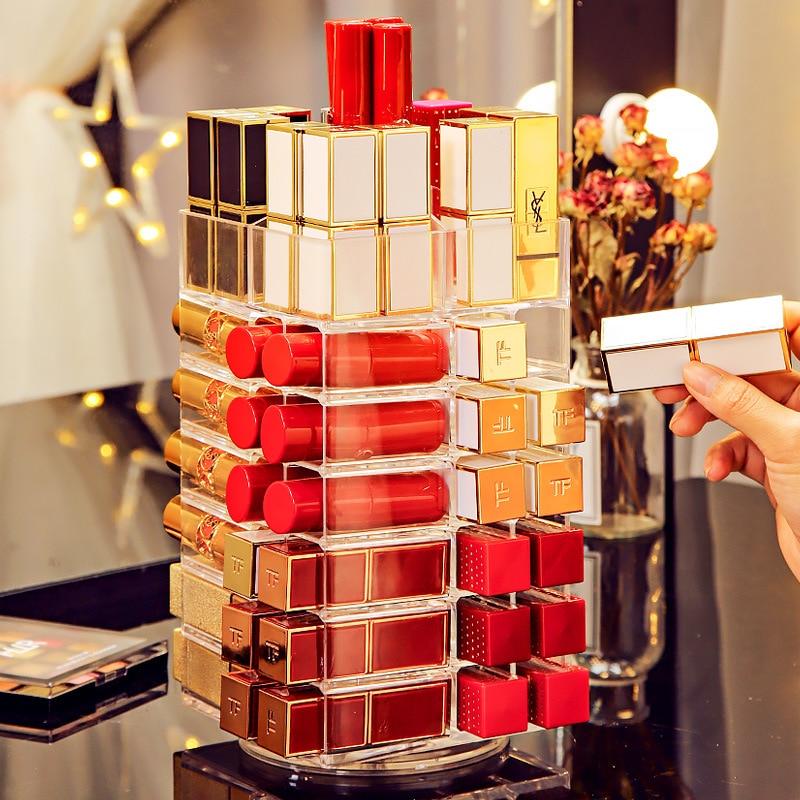 53Lattices Rotating Lipstick Tower 360 Degree Acrylic Rotated Rack Nail Polish Organizer Lipstick Storage Case Cosmetics Display