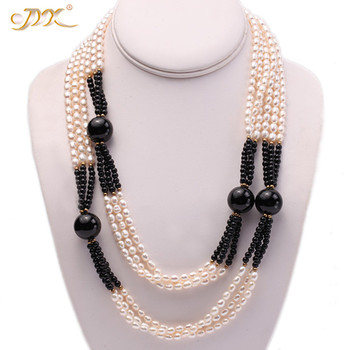JYX 4-14mm white oval freshwater pearl and black round agate necklace Jewelry Gift for Women jyx round long pearl necklaces natural white 8 9mm freshwater pearl chains endless long sweater necklace