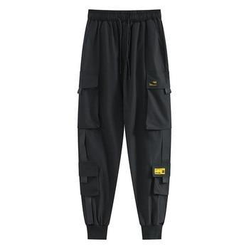 Women Fashion Streetwear Cargo Pants Black Ankle Length Elastic Waist Joggers Female Loose Trousers Casual trousers