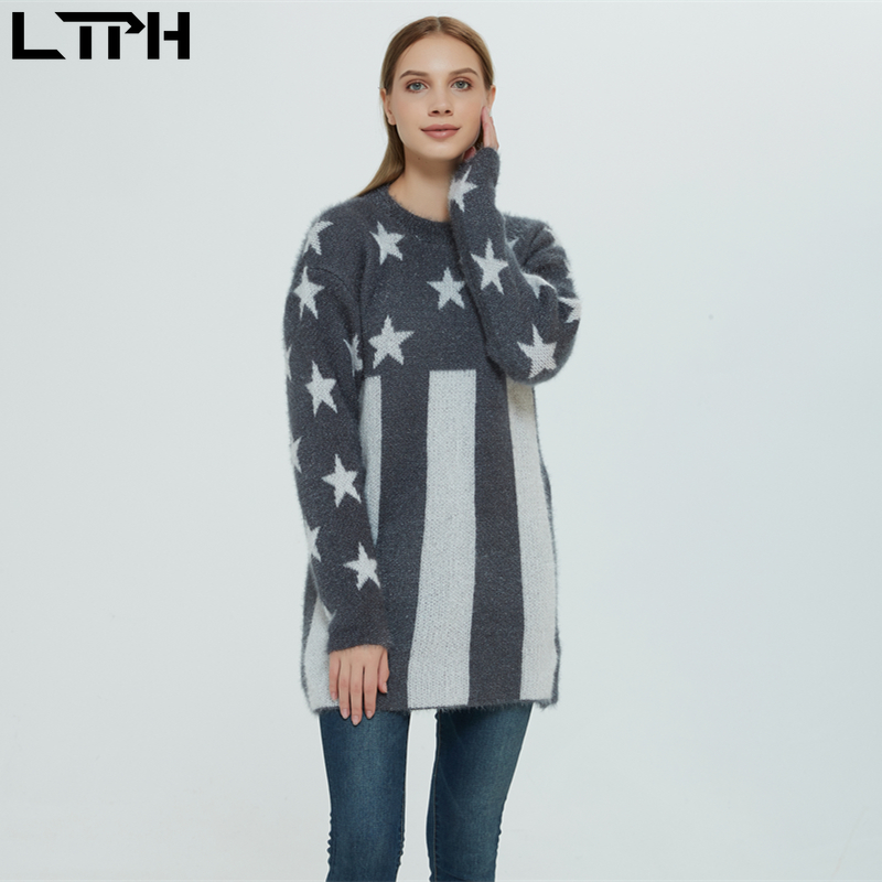 LTPH Hot Sale2019 Winter New Women Sweater Casual Lazy Wind Round Neck Full Sleeves Outer Wear Wild Loose Knit Jacquard Pullover