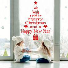 Wall-Stickers Christmas-Decorations Window Shop Xmas Party White New-Year DIY Red