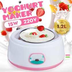 1.2L 220V Yoghurt Makers Volautomatische Yoghurt Machine Maker Huishoudelijke Roestvrij Staal/Pp Diy Yoghurt Gereedschap Mini Keuken apparaat