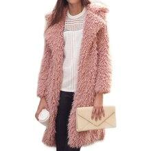 2020 New Winter Plush Long Fake Fur Wrap Women Female Lapel Furry Medium Length Style Coat Cotton Padded Jacket Factory цена 2017