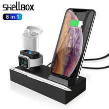 8 in 1 10W QI Wireless Charger Station For iPhone XR XS Max Airpods 2019 Apple Watch 4 3 Fast Apple Charging Dock For Samsung