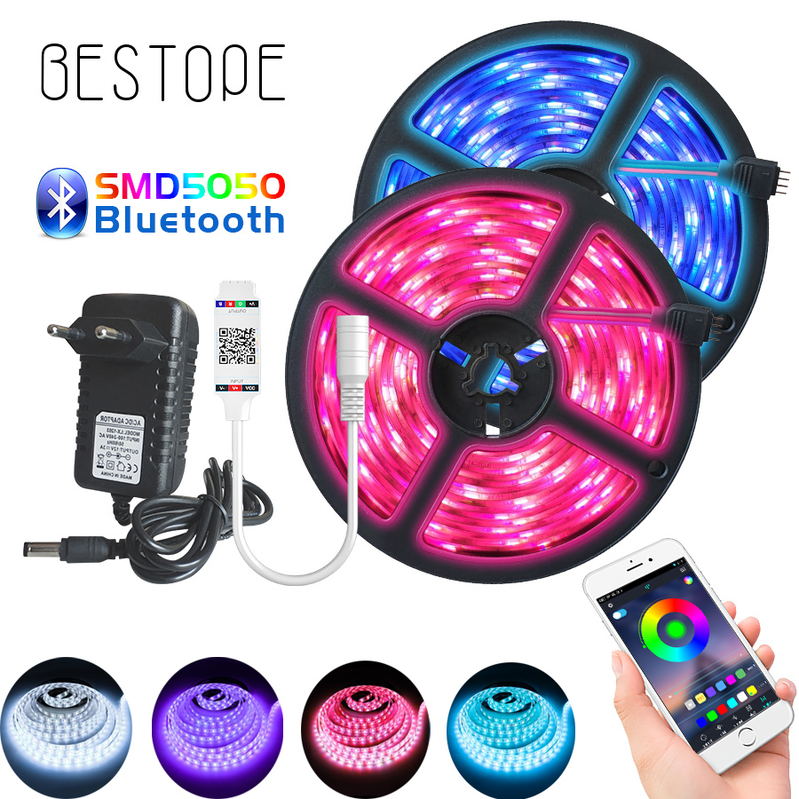 5m 10m SMD5050 Bluetooth LED Strip RGB Led Light Tape DC12V Waterproof LED Light Diode Ribbon Flexible With Bluetooth Controller
