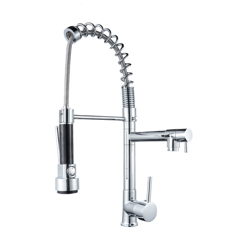 Cross Border For Hot And Cold Mixing Water Multi-functional Spring Pulling Kitchen Faucet Kitchen Sink Faucet Sanitary Ware