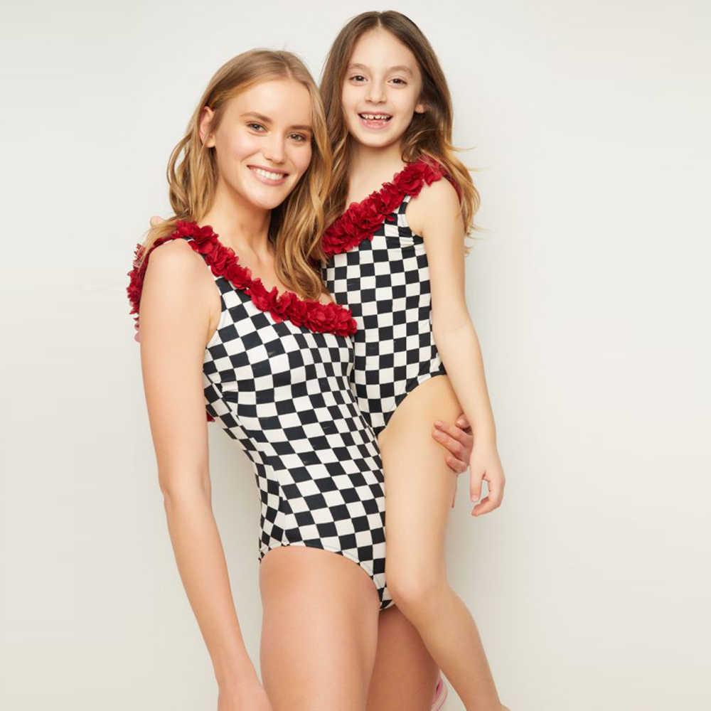 لباس سباحة من قطعة واحدة مطبوع عليه ابنة الأم والأمومة موضة 2020 لباس بحر ملابس سباحة للسيدات لباس سباحة برازيلي