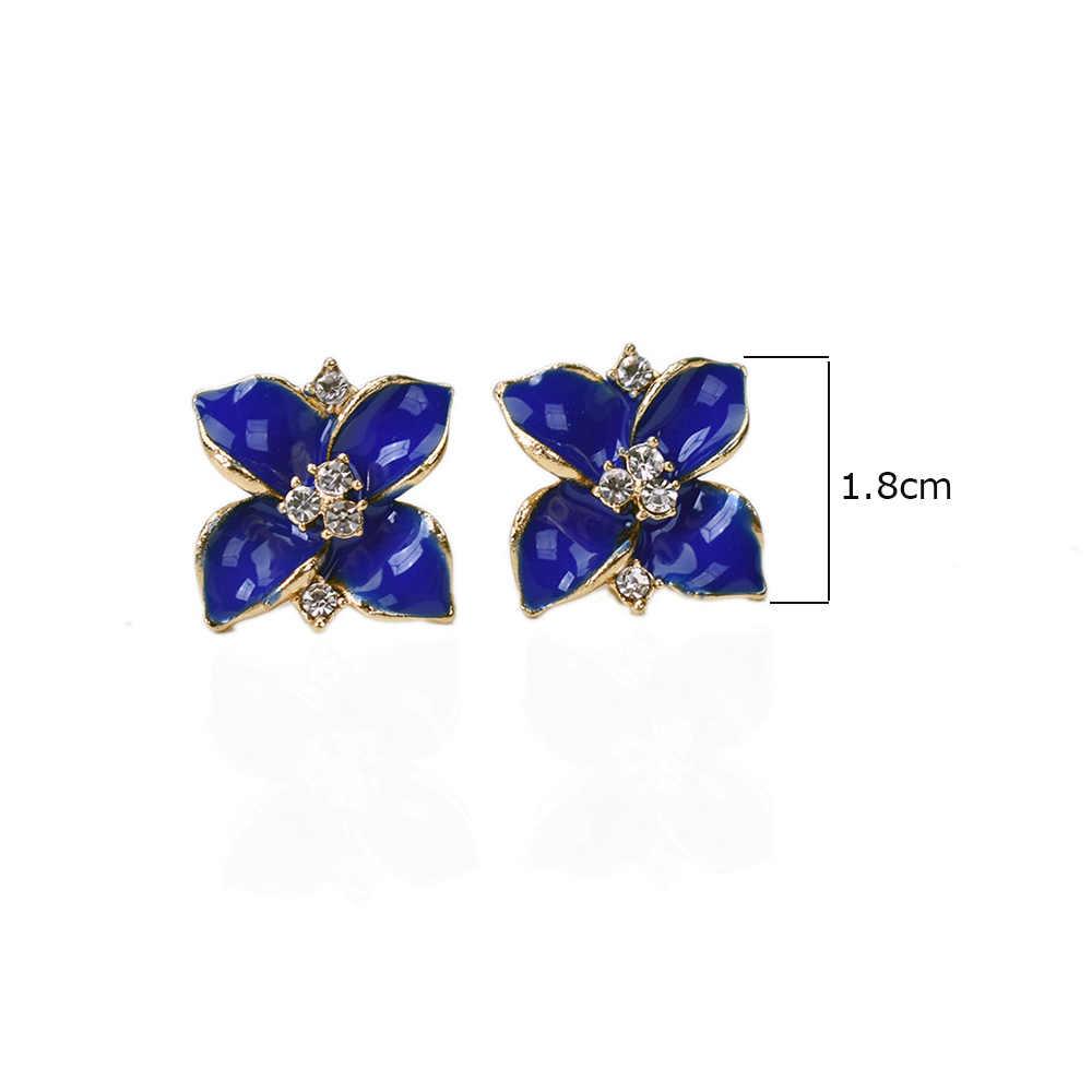 Nie przebite roślin biżuteria niebieski kwiat klipsy bez Piercing kryształ w złotym kolorze kolczyk proste ucho nausznica dopasowanie/kolczyki punktowe