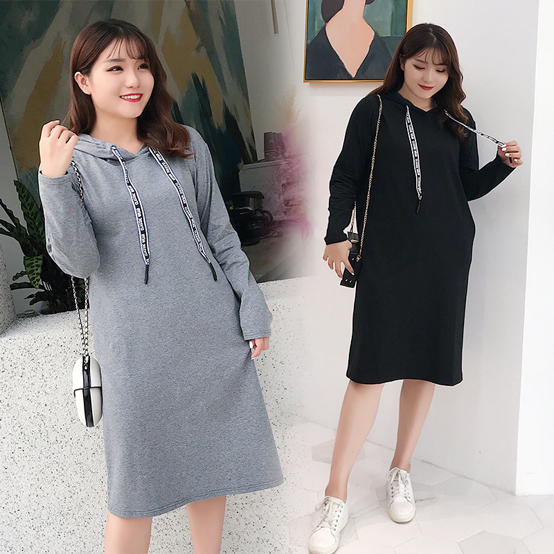 New Style Autumn Large Size Hoodie Korean-style Dress 200 Plus-sized Womenswear Size Loose-Fit Long Sleeve Hooded Long Skirts 53