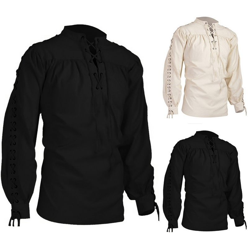 New Mens Shirts Medieval Pirate Shirts Renaissance Lace Up Scottish Blouses Tops Vintage Solid Bandage Men's Long Sleeve Shirt