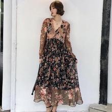 Fashion new French V-neck floral seaside holiday travel style retro printed long-sleeved ruffled bea