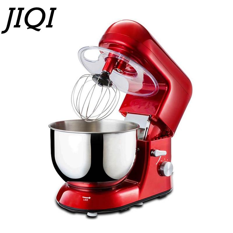 JIQI 5L bol en acier inoxydable 6 vitesses électrique alimentaire stand mélangeur oeuf fouet pâte crème mélangeur cuisine appareil chef machine 220V