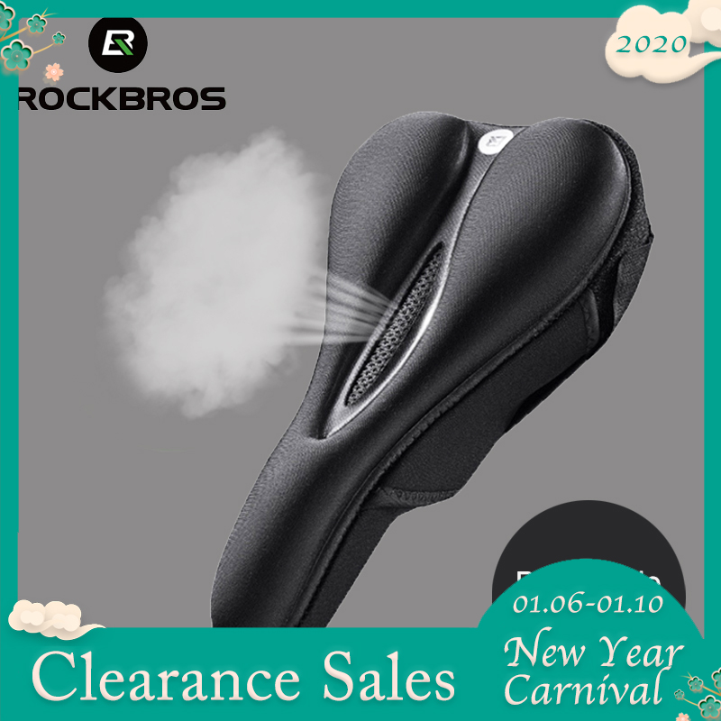 ROCKBROS Silicone Bicycle Saddle Hollow Breathable MTB Bike Seat Cushion Cover Mat Silica Gel Saddle Cycling Bike Accessories