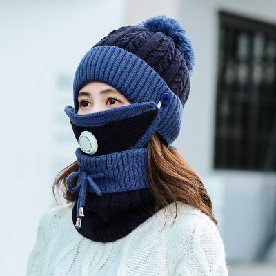 Men Women Fashion Ear Protection Hat Scarf Woolen Cap Cycling Windproof Two-Piece Suit Winter Thermal Plush Hat Scarf Woolen Cap Nourich Cycling Windproof Cap Two-Piece Suit