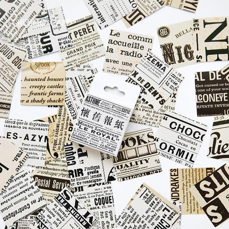 45pcs/box Retro NewspaperStickers Cute Planner Scrapbooking Paper Stickers Label Diary Album Bullet Journal Stickers Kawaii