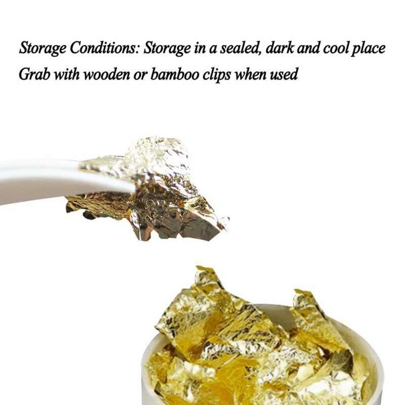เกรดกินได้ของแท้ Gold Leaf Schabin Flakes เค้กตกแต่งเครื่องมือตกแต่งจาน Chef ช็อกโกแลต