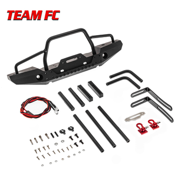 TRX-4 Metal Front Bumper with Led Light for 1/10 RC Crawler Car Traxxas TRX4 D90 D110 Defender Axial SCX10 90046 Upgrade Parts image