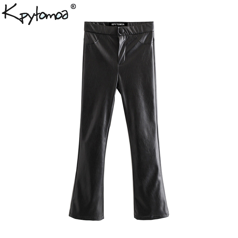 Vintage Stylish Faux Pu Leather Boot Cut Pants Women 2020 Fashion Zipper Fly Streetwear Ladies Trousers Casual Pantalones Mujer