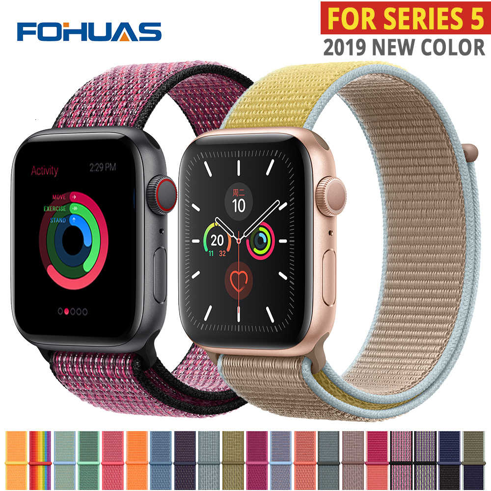 Tali Nilon untuk Apple Watch Band Series 5 IWatch 44 Mm Tali 38 Mm 44 Mm 40 Mm IWatch Sreies 4 3 2 Pulseira Gelang Gelang Jam Belt
