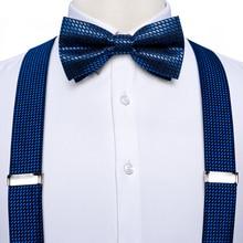 Royal Blue Mens Suspenders Bow Tie Set Elastic Silk Leather 6 Clips Braces Y-Back Suspender Butterfly Pocket Square Set DiBanGu