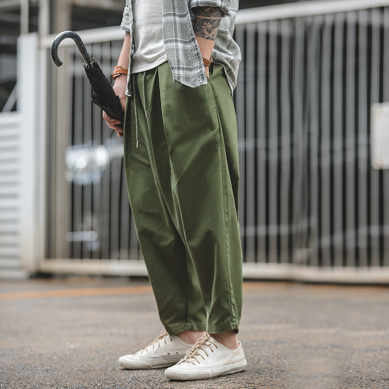 Maden Men's Retro Harem Pants Loose Fit Spring Autumn Casual Pants Trousers With Drawstring Waist Green