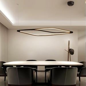 Image 1 - Modern LED kolye ışıkları yemek odası bar mağaza asılı kolye lamba oturma odası ofis ev deco 90 260V mat siyah/beyaz