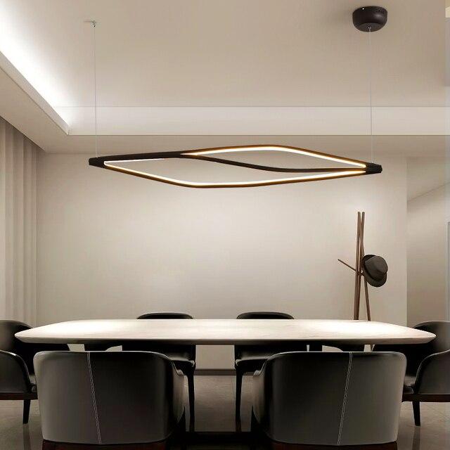 Modern LED kolye ışıkları yemek odası bar mağaza asılı kolye lamba oturma odası ofis ev deco 90 260V mat siyah/beyaz