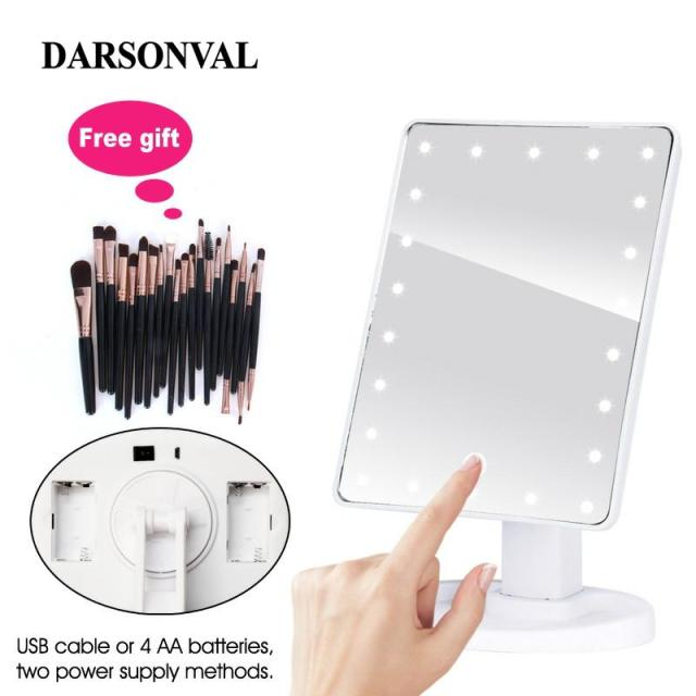 LED Professional Lighted Mirror With Light for makeup Adjustable Light 16/22 Touch Screen Table make-up led mirror Eyelash Brush 1