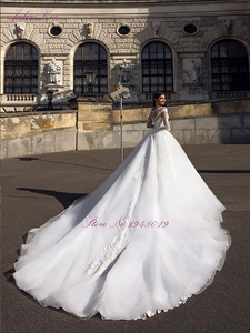 Image 2 - Julia Kui Gorgeous Tulle A line Wedding Dress With Full Sleeve Wedding Gown Royal Train