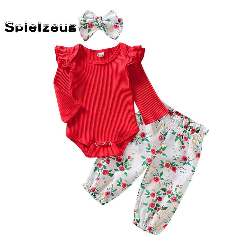 Newest Infant Baby Girls Ruched Romper Jumpsuit Floral Print Pants Headband Outfits Set 0-24 Months