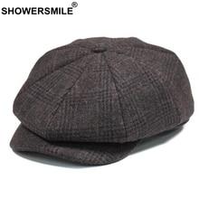 SHOWERSMILE Brand Plaid Newsboy Cap Men Vintage Wool Octagonal Cap Male Warm Winter Painter Hat Grey British Style Caps And Hats